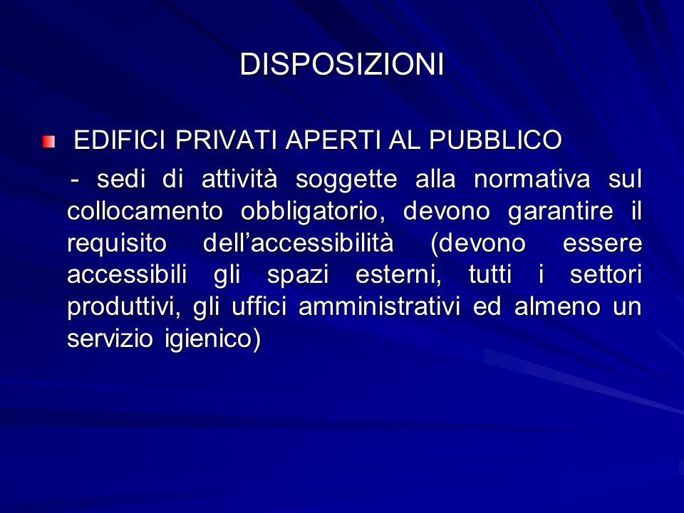 DISPOSIZIONI EDIFICI PRIVATI APERTI AL PUBBLICO EDIFICI PRIVATI APERTI AL PUBBLICO - sedi di attività soggette alla normativa sul collocamento obbliga