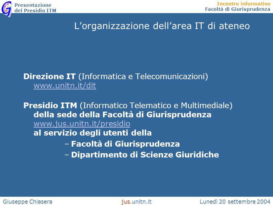 Incontro informativo Facoltà di Giurisprudenza Presentazione del Presidio ITM Lunedì 20 settembre 2004jus.unitn.itGiuseppe Chiasera L'organizzazione d