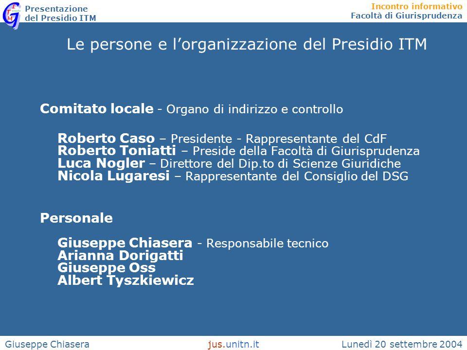 Incontro informativo Facoltà di Giurisprudenza Presentazione del Presidio ITM Lunedì 20 settembre 2004jus.unitn.itGiuseppe Chiasera Le persone e l'org