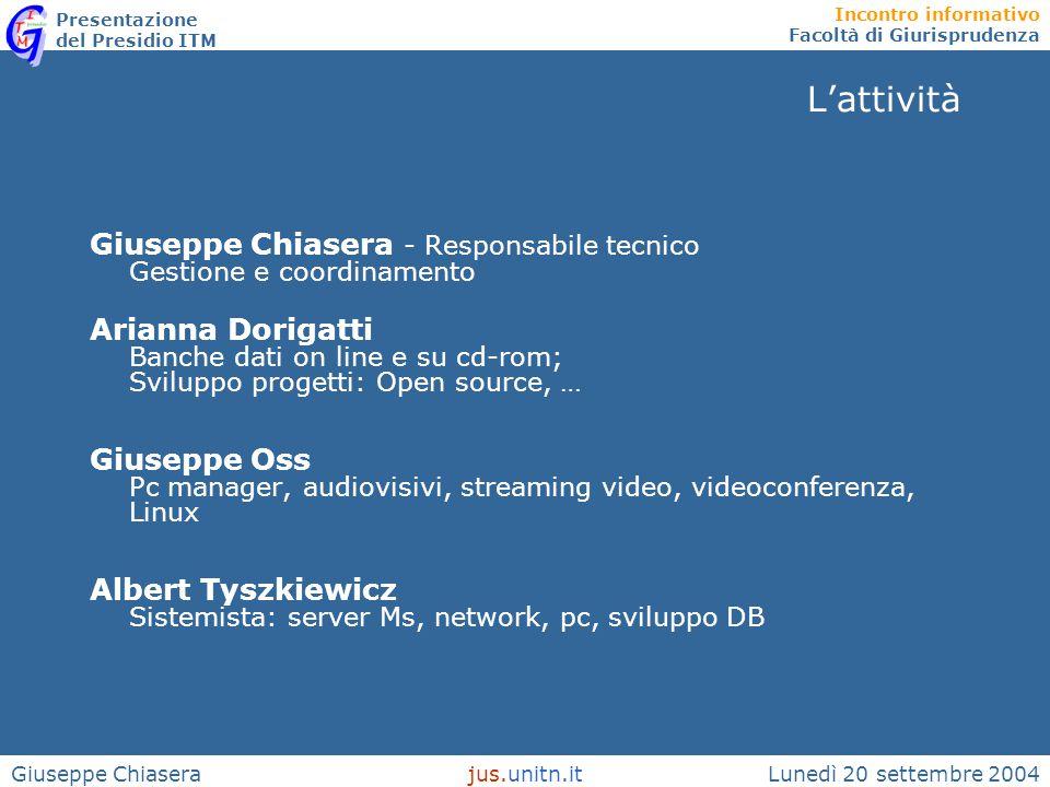 Incontro informativo Facoltà di Giurisprudenza Presentazione del Presidio ITM Lunedì 20 settembre 2004jus.unitn.itGiuseppe Chiasera L'attività Giusepp