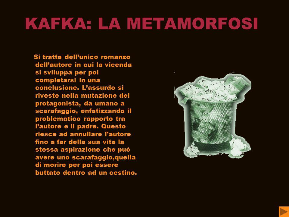 KAFKA: LA METAMORFOSI Si tratta dell'unico romanzo dell'autore in cui la vicenda si sviluppa per poi completarsi in una conclusione.