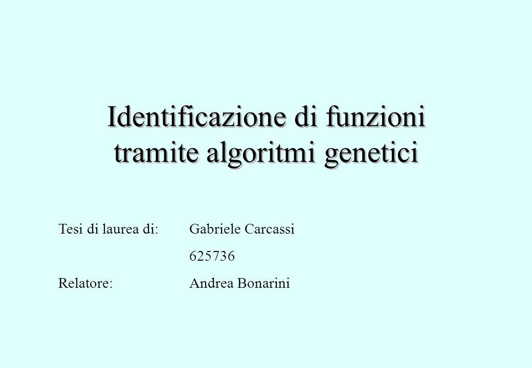 Identificazione di funzioni tramite algoritmi genetici Tesi di laurea di: Relatore: Gabriele Carcassi 625736 Andrea Bonarini