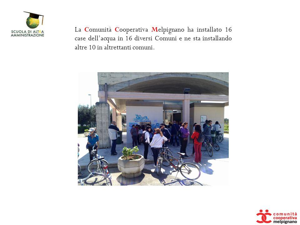 La Comunità Cooperativa Melpignano ha installato 16 case dell'acqua in 16 diversi Comuni e ne sta installando altre 10 in altrettanti comuni.