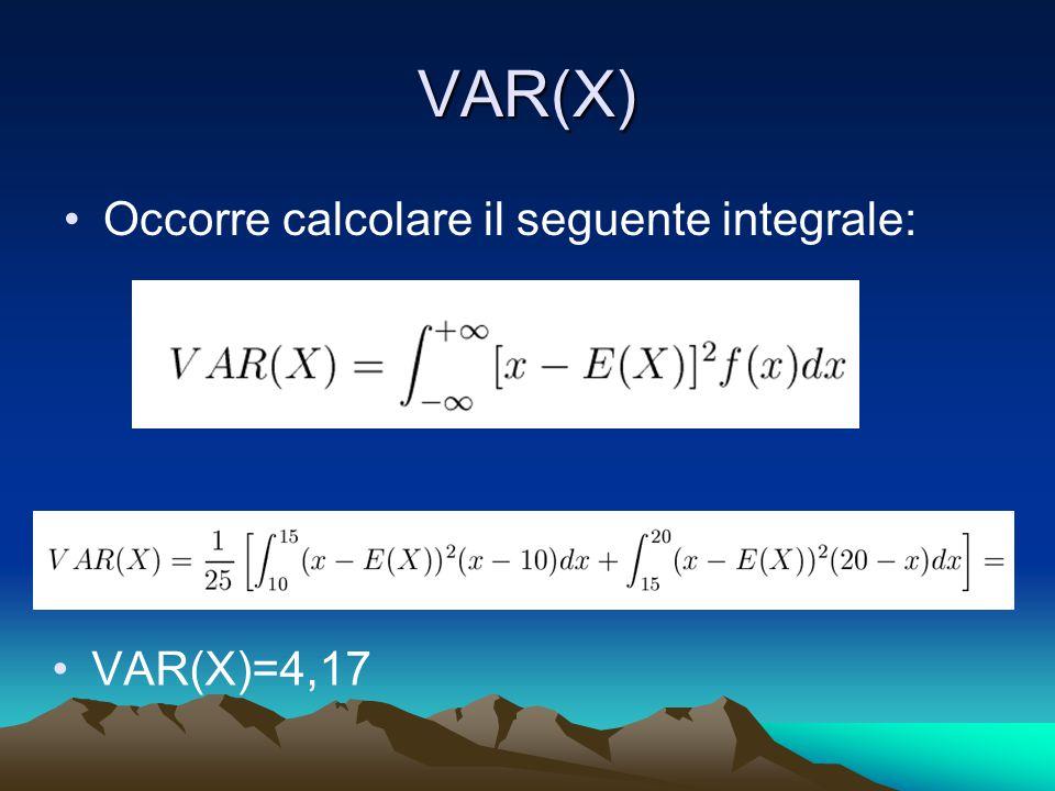 VAR(X) Occorre calcolare il seguente integrale: VAR(X)=4,17