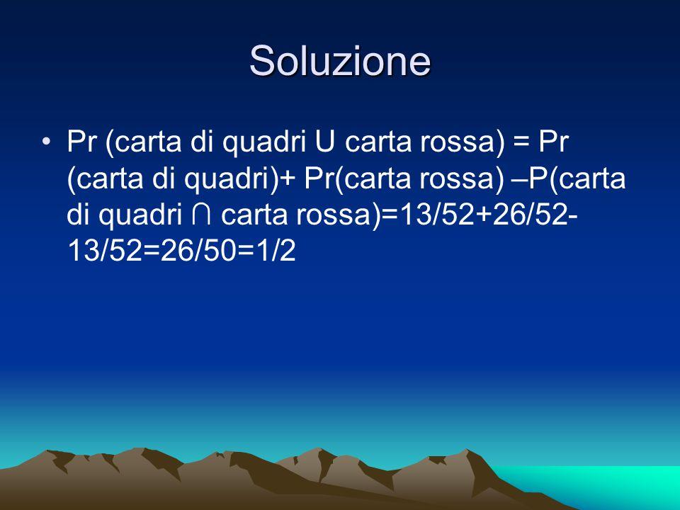 Soluzione Pr (carta di quadri U carta rossa) = Pr (carta di quadri)+ Pr(carta rossa) –P(carta di quadri ∩ carta rossa)=13/52+26/52- 13/52=26/50=1/2