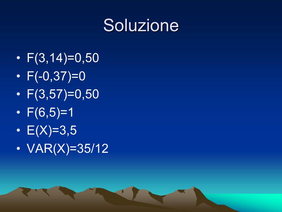 Soluzione F(3,14)=0,50 F(-0,37)=0 F(3,57)=0,50 F(6,5)=1 E(X)=3,5 VAR(X)=35/12