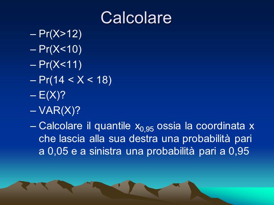 Calcolare –Pr(X>12) –Pr(X<10) –Pr(X<11) –Pr(14 < X < 18) –E(X)? –VAR(X)? –Calcolare il quantile x 0,95 ossia la coordinata x che lascia alla sua destr