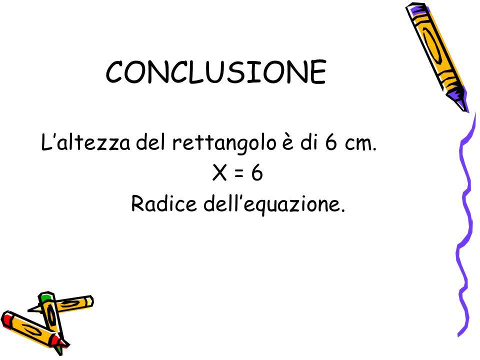 CONCLUSIONE L'altezza del rettangolo è di 6 cm. X = 6 Radice dell'equazione.