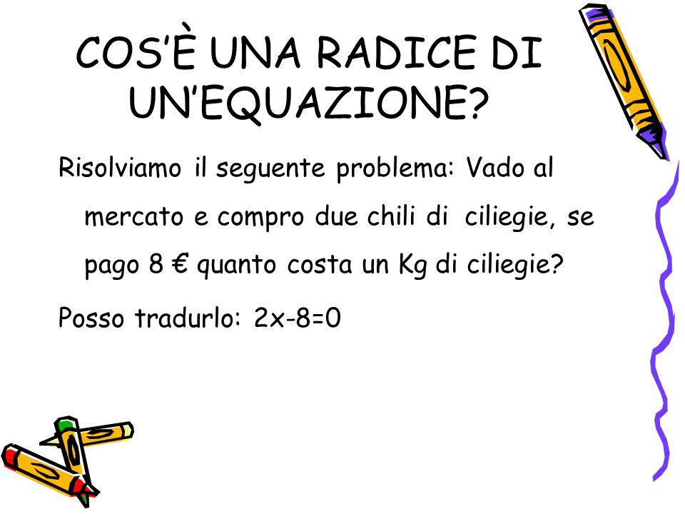 LA RADICE È UNICA Se nell'equazione: 2x-8=0 sostituisco ad x il valore 4 ottengo: 2*4-8=0 Il valore 4 si chiama radice dell'equa- zione.