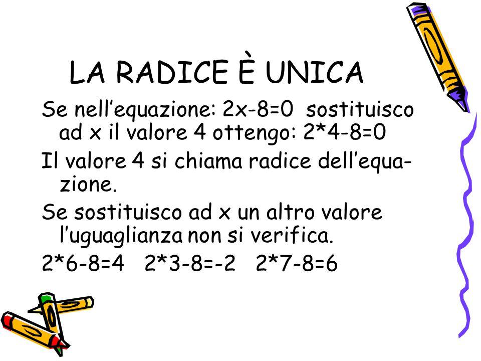 LA RADICE È UNICA Se nell'equazione: 2x-8=0 sostituisco ad x il valore 4 ottengo: 2*4-8=0 Il valore 4 si chiama radice dell'equa- zione. Se sostituisc
