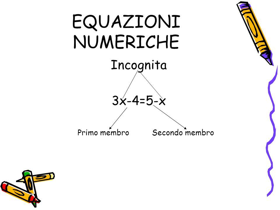 EQUAZIONI NUMERICHE Incognita 3x-4=5-x Primo membro Secondo membro