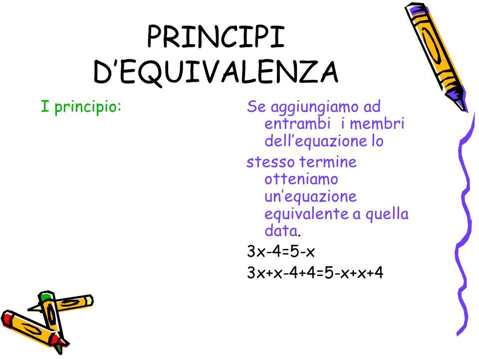 PRINCIPI D'EQUIVALENZA II principio:Se moltiplichiamo o dividiamo per uno stesso numero reale ambo i membri di un'equazione si ottiene un'equazione equivalente a quella data.