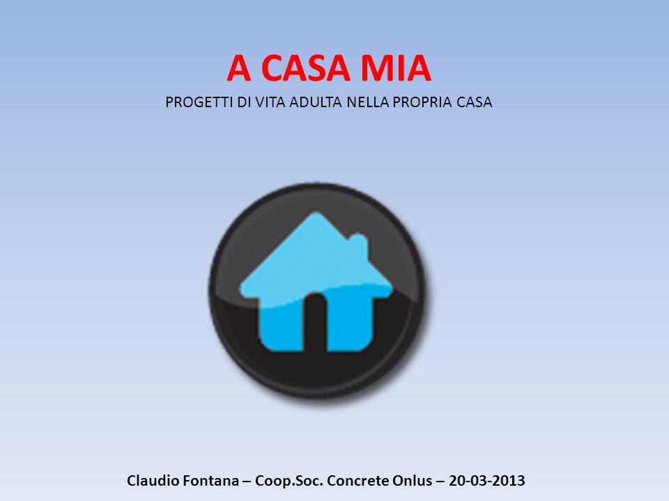 A CASA MIA PROGETTI DI VITA ADULTA NELLA PROPRIA CASA Claudio Fontana – Coop.Soc.
