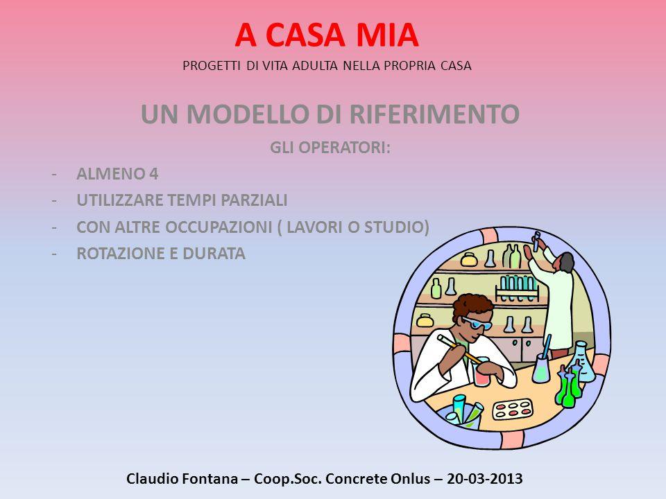 A CASA MIA PROGETTI DI VITA ADULTA NELLA PROPRIA CASA UN MODELLO DI RIFERIMENTO GLI OPERATORI: -ALMENO 4 -UTILIZZARE TEMPI PARZIALI -CON ALTRE OCCUPAZIONI ( LAVORI O STUDIO) -ROTAZIONE E DURATA Claudio Fontana – Coop.Soc.