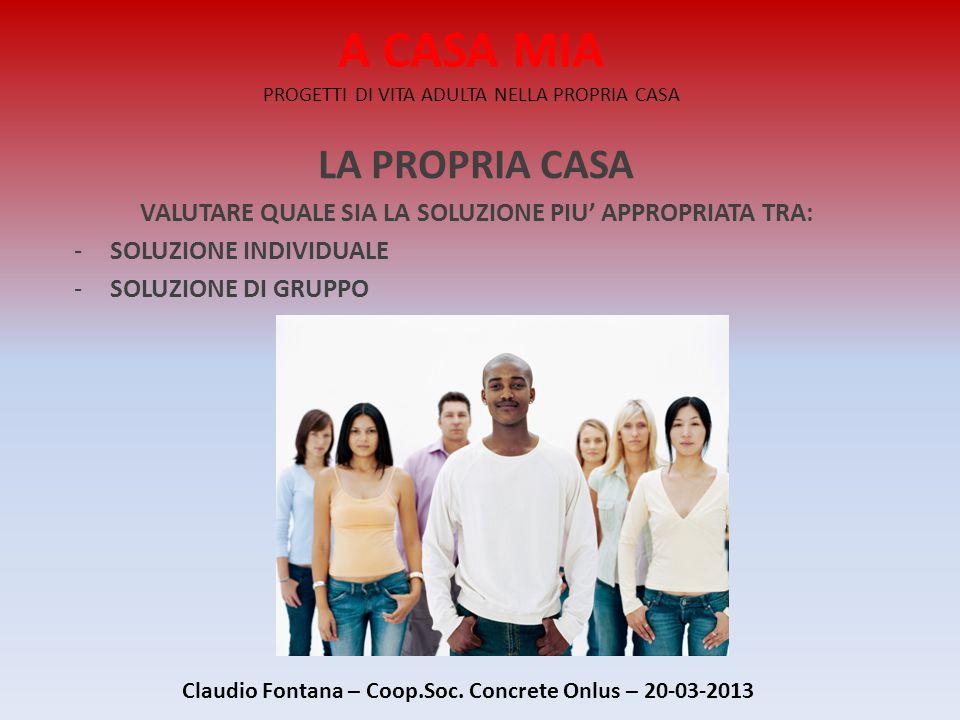 A CASA MIA PROGETTI DI VITA ADULTA NELLA PROPRIA CASA LA PROPRIA CASA VALUTARE QUALE SIA LA SOLUZIONE PIU' APPROPRIATA TRA: -SOLUZIONE INDIVIDUALE -SOLUZIONE DI GRUPPO Claudio Fontana – Coop.Soc.