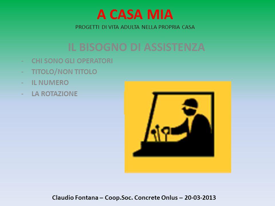 A CASA MIA PROGETTI DI VITA ADULTA NELLA PROPRIA CASA IL BISOGNO DI ASSISTENZA -CHI SONO GLI OPERATORI -TITOLO/NON TITOLO -IL NUMERO -LA ROTAZIONE Claudio Fontana – Coop.Soc.