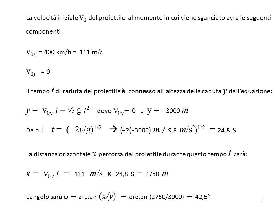 La velocità iniziale v 0 del proiettile al momento in cui viene sganciato avrà le seguenti componenti: v 0x = 400 km/h = 111 m/s v 0y = 0 Il tempo t di caduta del proiettile è connesso all'altezza della caduta y dall'equazione: y = v 0y t – ½ g t 2 dove v 0y = 0 e y = −3000 m Da cui t = (−2y/g) 1/2  (−2(−3000) m / 9,8 m/s 2 ) 1/2 = 24,8 s La distanza orizzontale x percorsa dal proiettile durante questo tempo t sarà: x = v 0x t = 111 m/s x 24,8 s = 2750 m L'angolo sarà ф = arctan (x/y) = arctan (2750/3000) = 42,5° 3