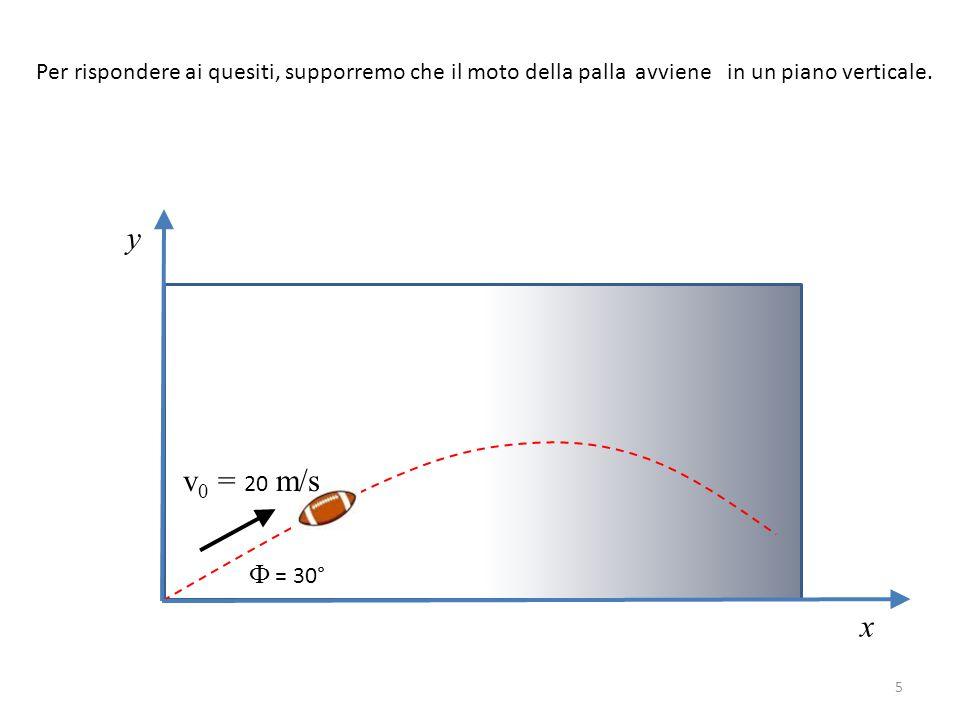 Per rispondere ai quesiti, supporremo che il moto della palla avviene in un piano verticale. y x v 0 = 20 m/s Ф = 30° 5
