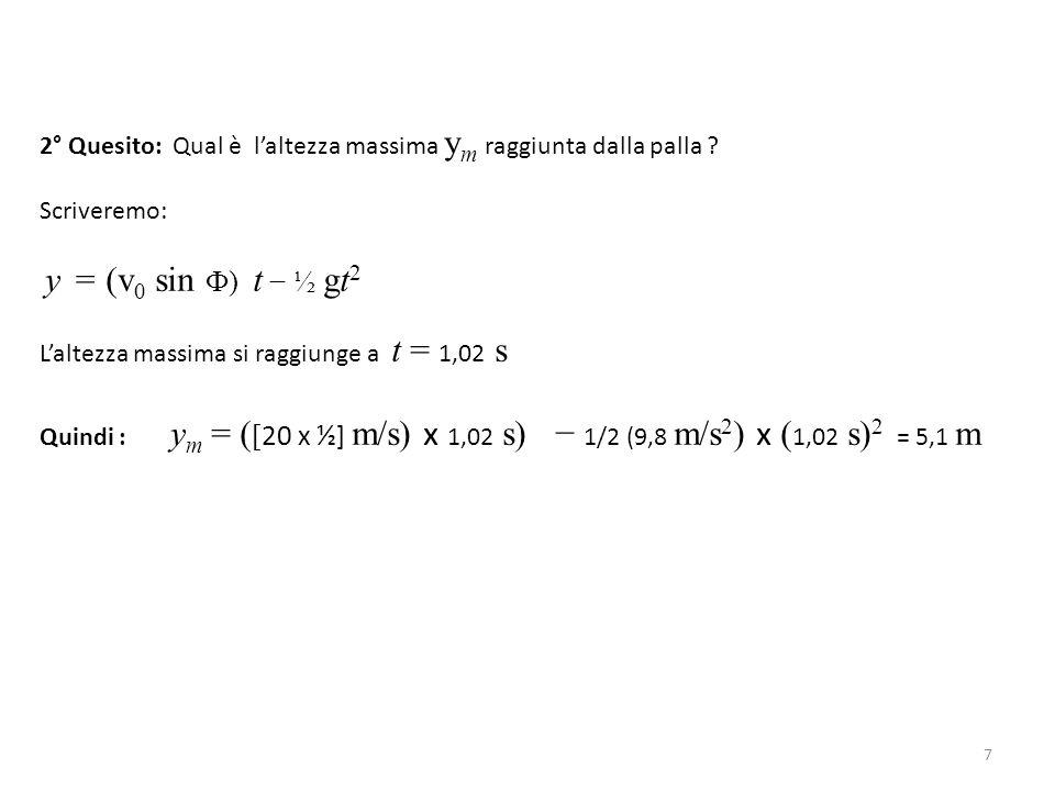 2° Quesito: Qual è l'altezza massima y m raggiunta dalla palla ? Scriveremo: y = (v 0 sin Ф) t − ½ gt 2 L'altezza massima si raggiunge a t = 1,02 s Qu