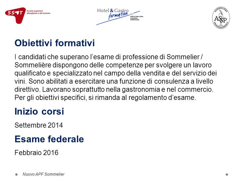 Obiettivi formativi I candidati che superano l'esame di professione di Sommelier / Sommelière dispongono delle competenze per svolgere un lavoro quali