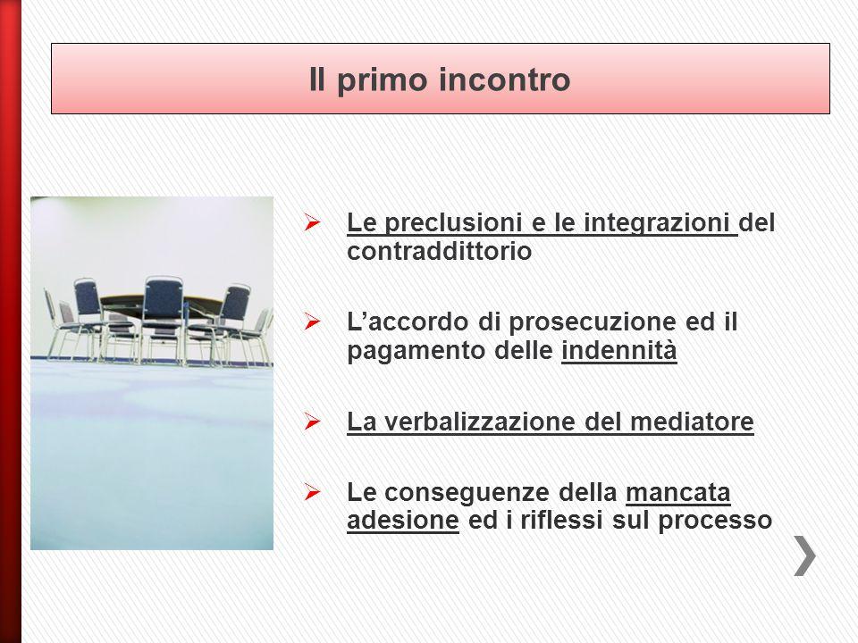  Le preclusioni e le integrazioni del contraddittorio  L'accordo di prosecuzione ed il pagamento delle indennità  La verbalizzazione del mediatore