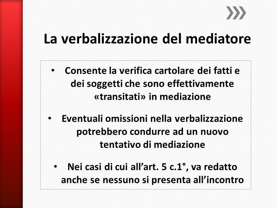 Consente la verifica cartolare dei fatti e dei soggetti che sono effettivamente «transitati» in mediazione Eventuali omissioni nella verbalizzazione potrebbero condurre ad un nuovo tentativo di mediazione Nei casi di cui all'art.