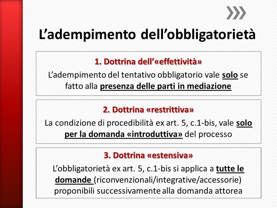 2. Dottrina «restrittiva» La condizione di procedibilità ex art. 5, c.1-bis, vale solo per la domanda «introduttiva» del processo 3. Dottrina «estensi