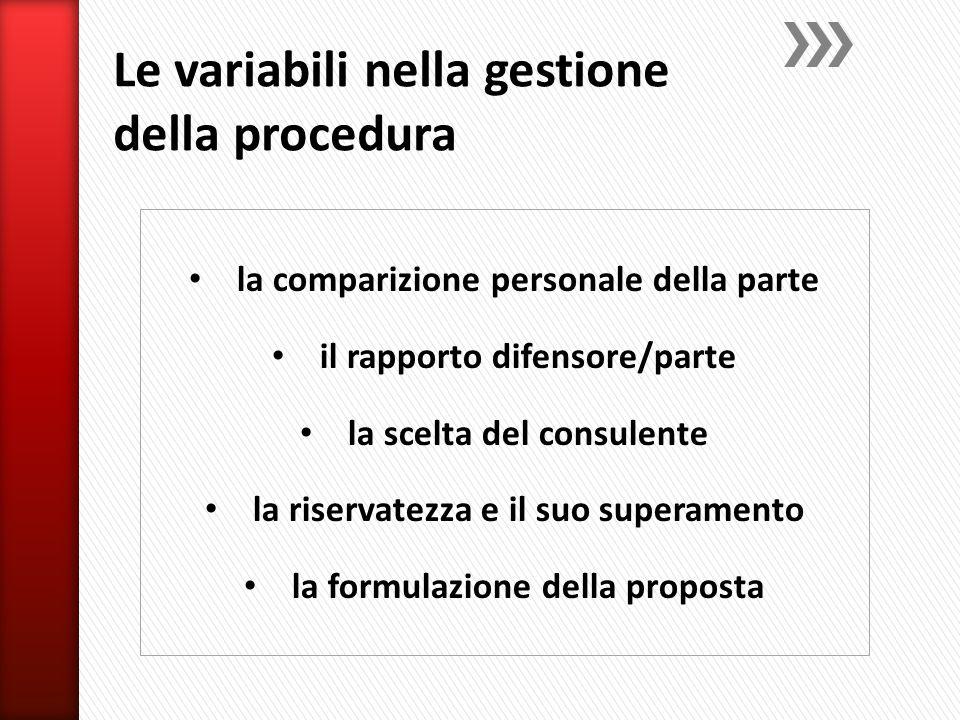la comparizione personale della parte il rapporto difensore/parte la scelta del consulente la riservatezza e il suo superamento la formulazione della proposta