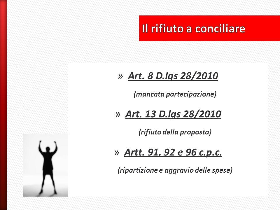 » Art. 8 D.lgs 28/2010 (mancata partecipazione) » Art. 13 D.lgs 28/2010 (rifiuto della proposta) » Artt. 91, 92 e 96 c.p.c. (ripartizione e aggravio d