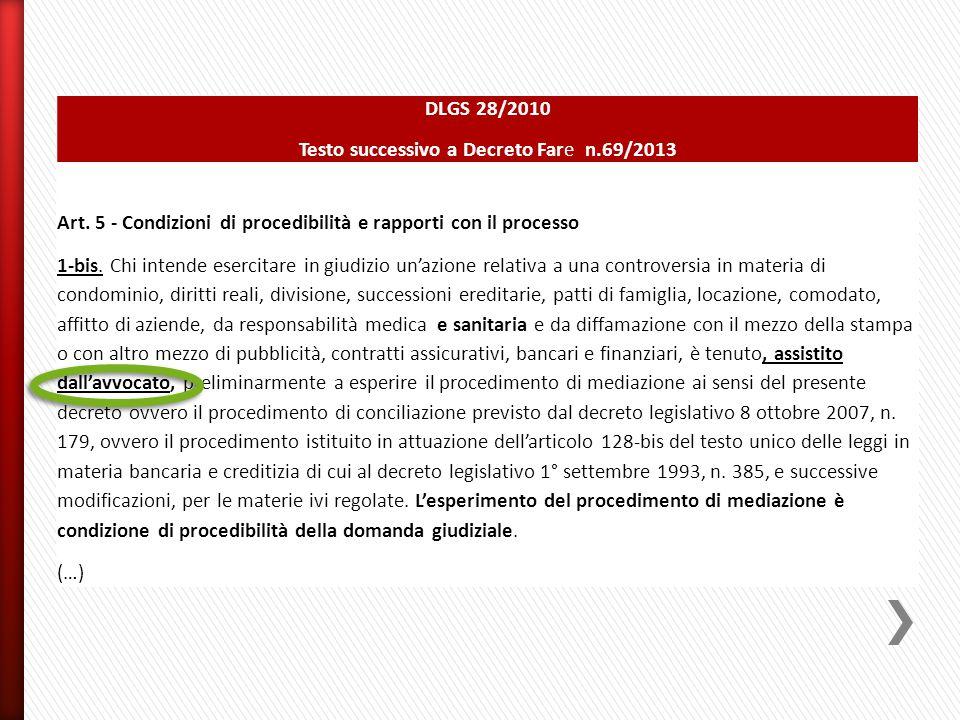 DLGS 28/2010 Testo successivo a Decreto Fare n.69/2013 Art. 5 - Condizioni di procedibilità e rapporti con il processo 1-bis. Chi intende esercitare i