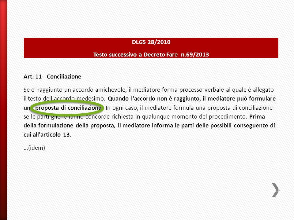 DLGS 28/2010 Testo successivo a Decreto Fare n.69/2013 Art. 11 - Conciliazione Se e' raggiunto un accordo amichevole, il mediatore forma processo verb