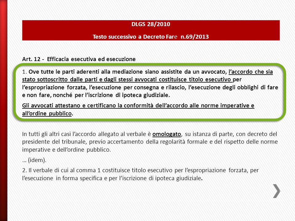 DLGS 28/2010 Testo successivo a Decreto Fare n.69/2013 Art. 12 - Efficacia esecutiva ed esecuzione 1. Ove tutte le parti aderenti alla mediazione sian