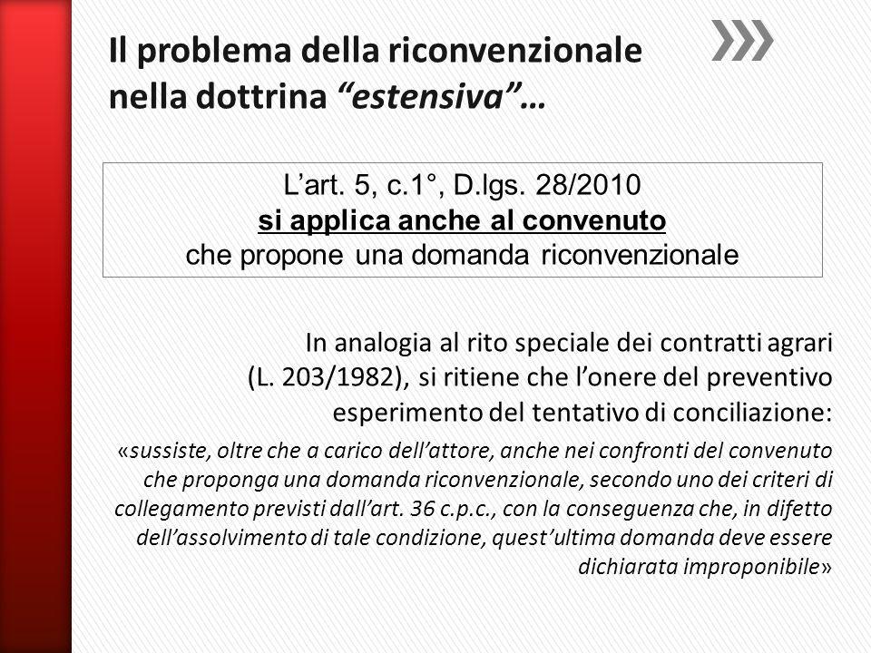In analogia al rito speciale dei contratti agrari (L. 203/1982), si ritiene che l'onere del preventivo esperimento del tentativo di conciliazione: «su