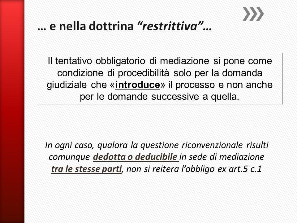 In ogni caso, qualora la questione riconvenzionale risulti comunque dedotta o deducibile in sede di mediazione tra le stesse parti, non si reitera l'o