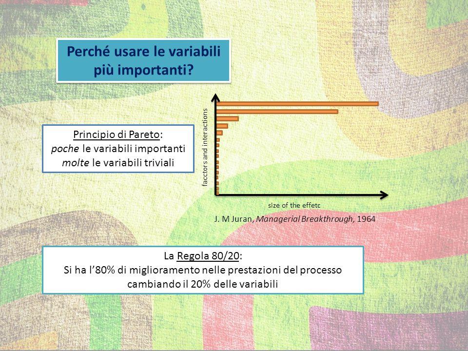 3 possibilità di approccio al problema esaminare gli effetti variando una variabile per volta approccio a matrice: quanti più esperimenti possibile impiego di metodi statistici
