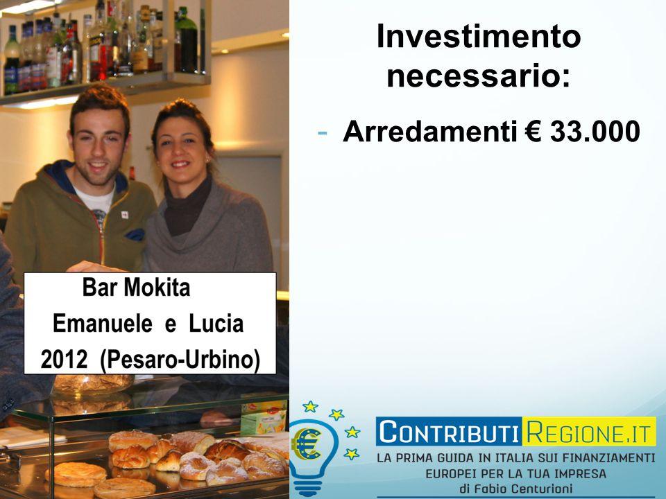 Investimento necessario: - Arredamenti € 33.000