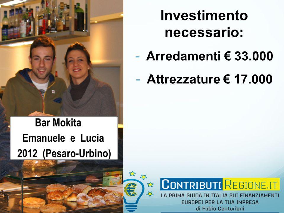Investimento necessario: - Arredamenti € 33.000 - Attrezzature € 17.000