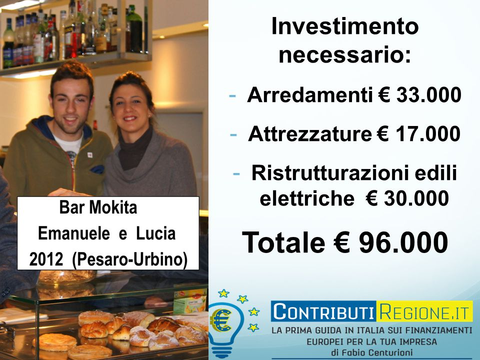 Investimento necessario: - Arredamenti € 33.000 - Attrezzature € 17.000 - Ristrutturazioni edili elettriche € 30.000 Totale € 96.000