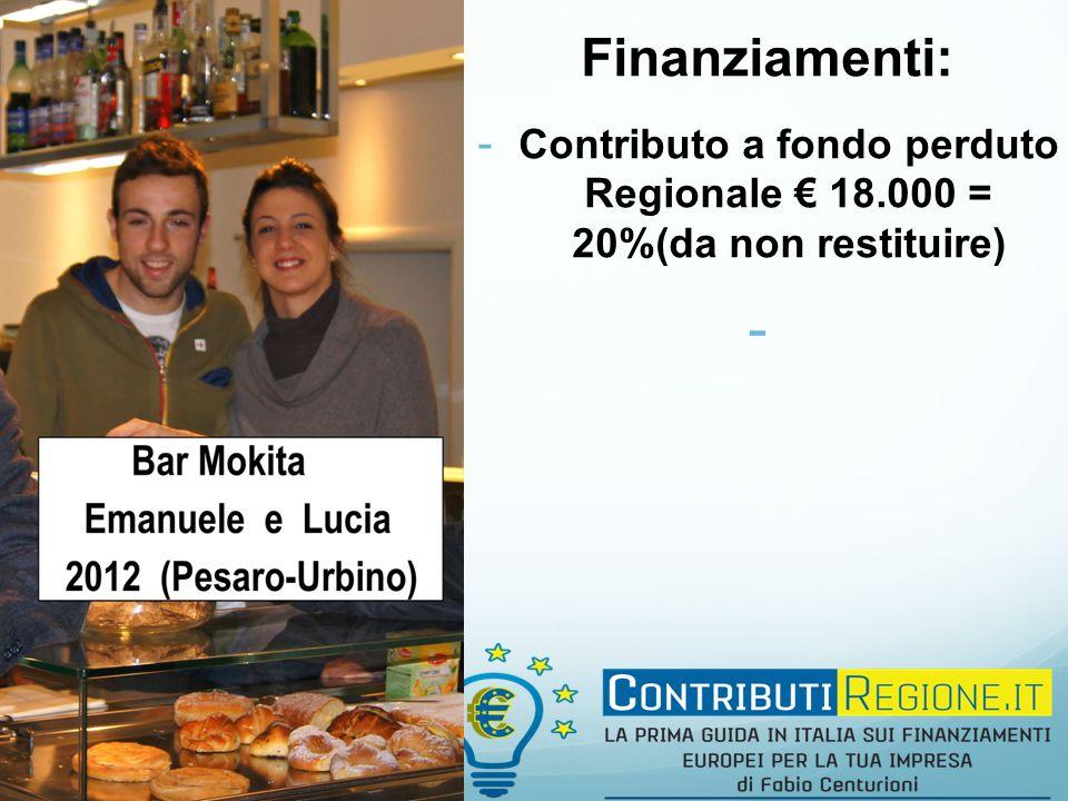 Finanziamenti: - Contributo a fondo perduto Regionale € 18.000 = 20%(da non restituire) -