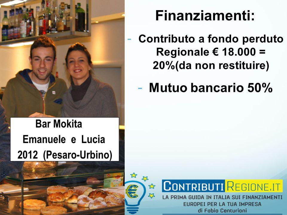 Finanziamenti: - Contributo a fondo perduto Regionale € 18.000 = 20%(da non restituire) - Mutuo bancario 50%