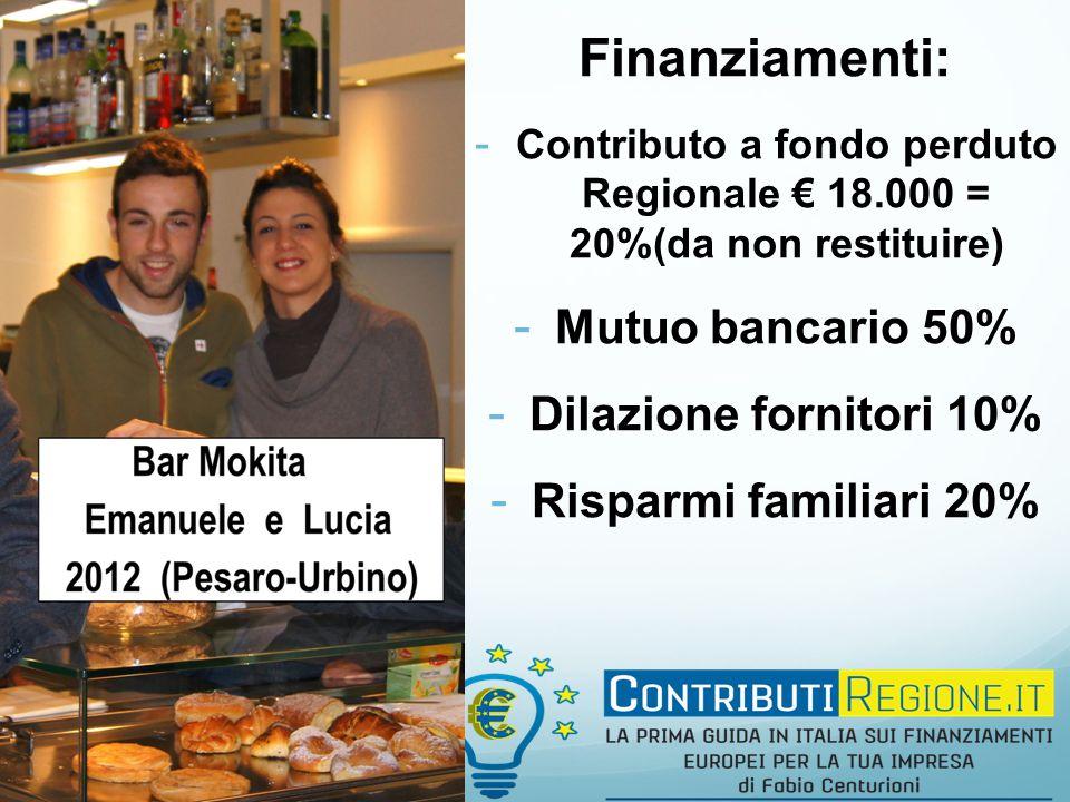 Finanziamenti: - Contributo a fondo perduto Regionale € 18.000 = 20%(da non restituire) - Mutuo bancario 50% - Dilazione fornitori 10% - Risparmi familiari 20%