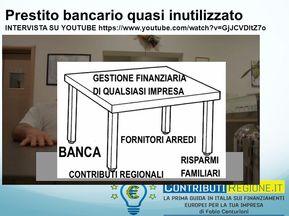 Prestito bancario quasi inutilizzato INTERVISTA SU YOUTUBE https://www.youtube.com/watch?v=GjJCVDltZ7o