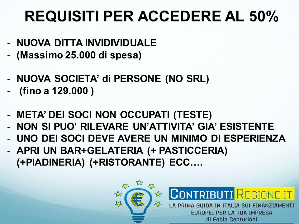 REQUISITI PER ACCEDERE AL 50% -NUOVA DITTA INVIDIVIDUALE -(Massimo 25.000 di spesa) -NUOVA SOCIETA' di PERSONE (NO SRL) - (fino a 129.000 ) -META' DEI SOCI NON OCCUPATI (TESTE) -NON SI PUO' RILEVARE UN'ATTIVITA' GIA' ESISTENTE -UNO DEI SOCI DEVE AVERE UN MINIMO DI ESPERIENZA -APRI UN BAR+GELATERIA (+ PASTICCERIA) (+PIADINERIA) (+RISTORANTE) ECC….
