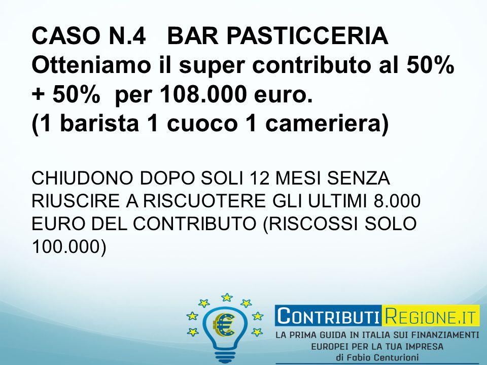 CASO N.4 BAR PASTICCERIA Otteniamo il super contributo al 50% + 50% per 108.000 euro.