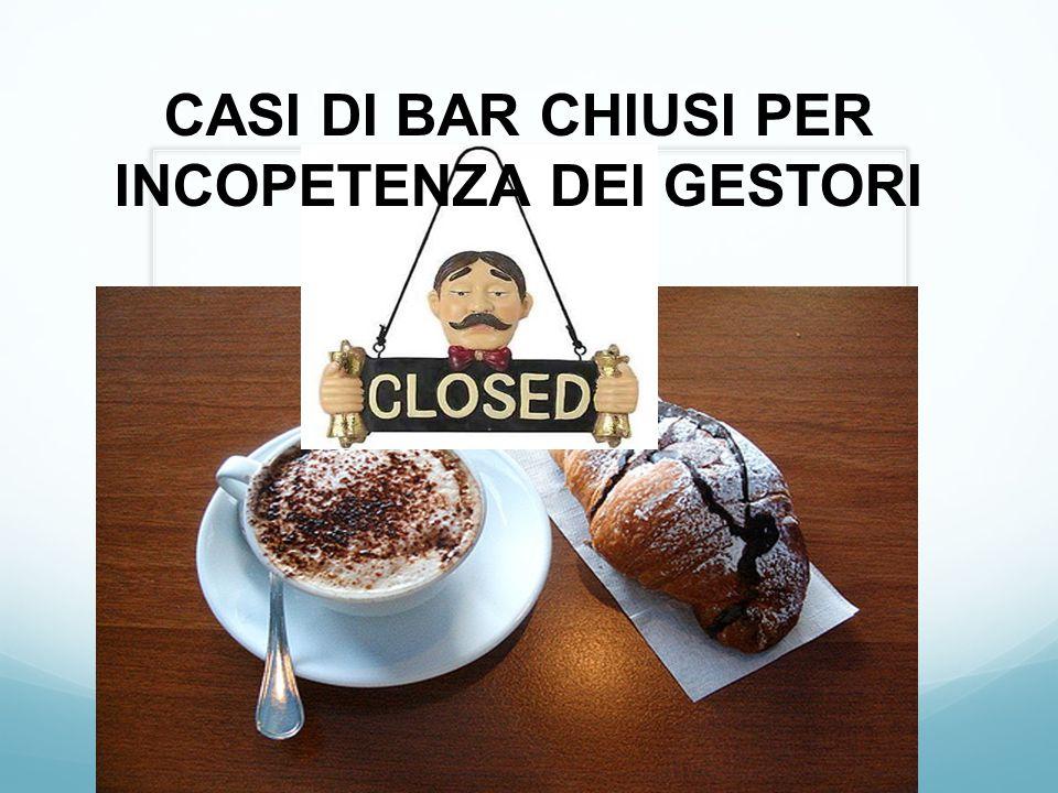 CASI DI BAR CHIUSI PER INCOPETENZA DEI GESTORI