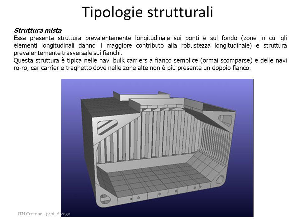 17 Tipologie strutturali Struttura mista Essa presenta struttura prevalentemente longitudinale sui ponti e sul fondo (zone in cui gli elementi longitu
