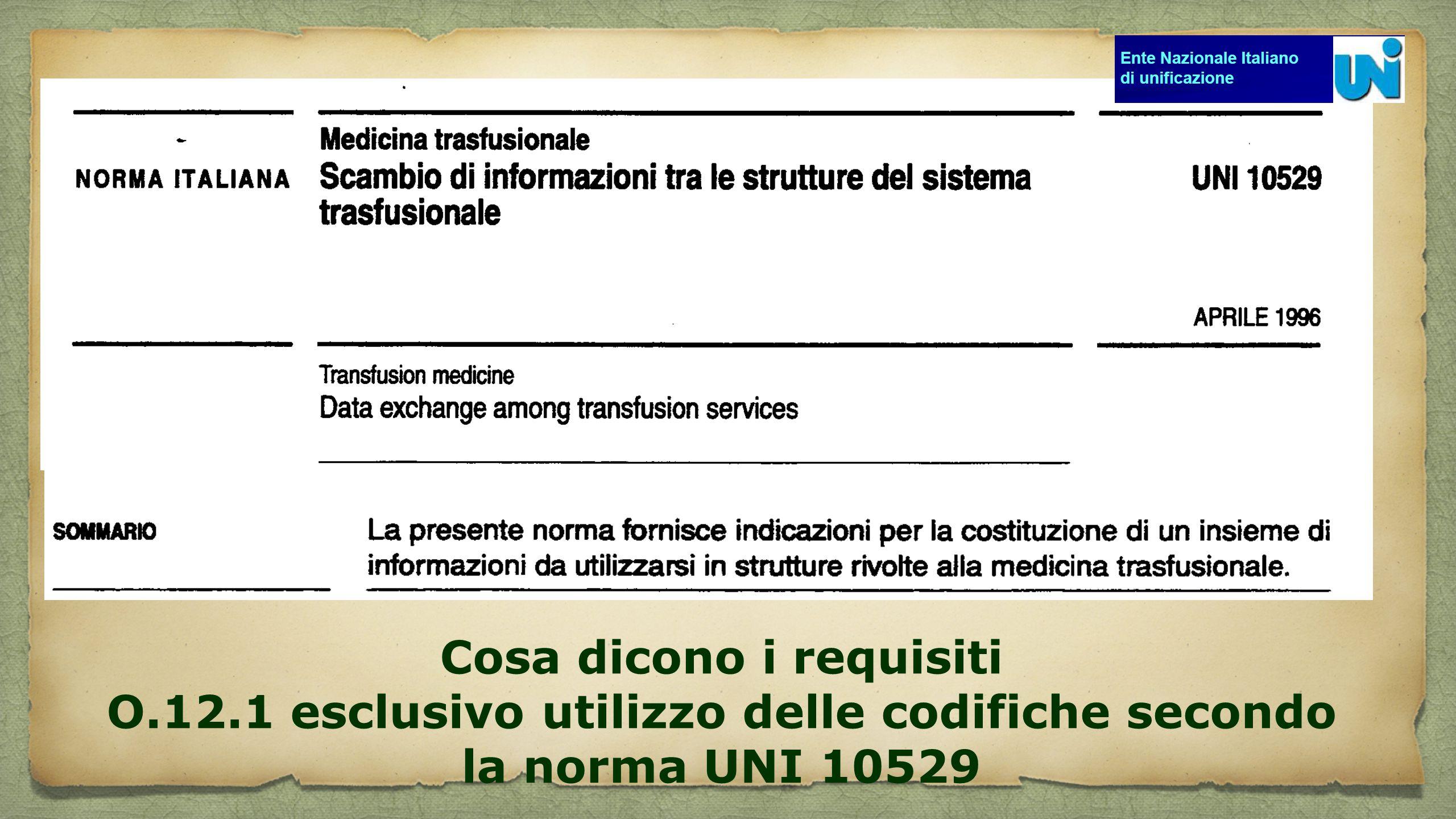 Cosa dicono i requisiti O.12.1 esclusivo utilizzo delle codifiche secondo la norma UNI 10529