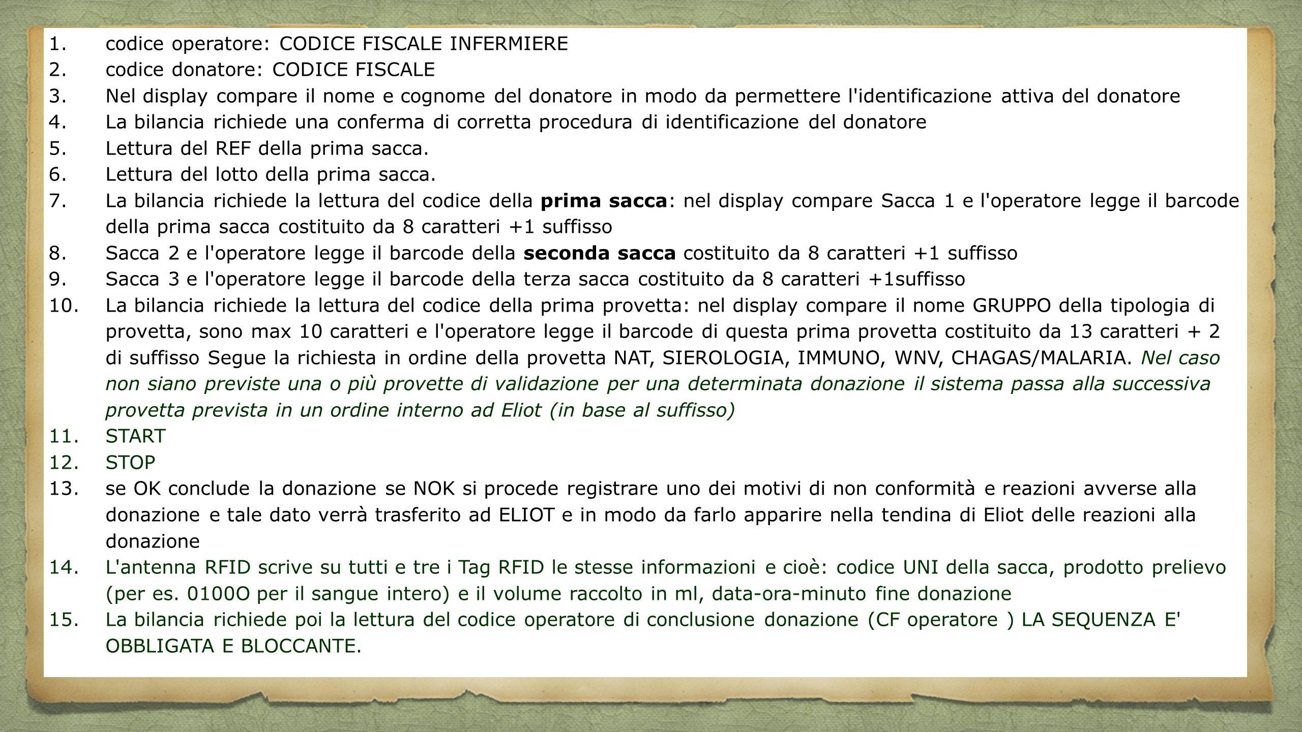 1.codice operatore: CODICE FISCALE INFERMIERE 2.codice donatore: CODICE FISCALE 3.Nel display compare il nome e cognome del donatore in modo da permet