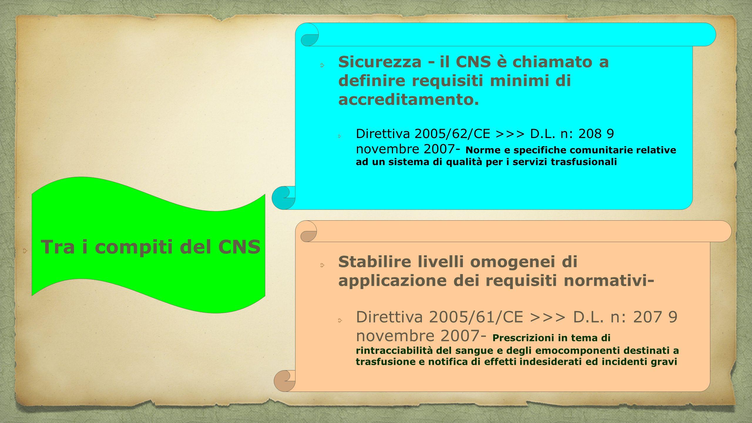 Tra i compiti del CNS Sicurezza - il CNS è chiamato a definire requisiti minimi di accreditamento. Direttiva 2005/62/CE >>> D.L. n: 208 9 novembre 200
