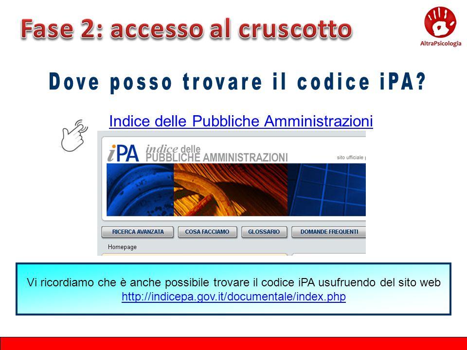 Indice delle Pubbliche Amministrazioni Vi ricordiamo che è anche possibile trovare il codice iPA usufruendo del sito web http://indicepa.gov.it/docume